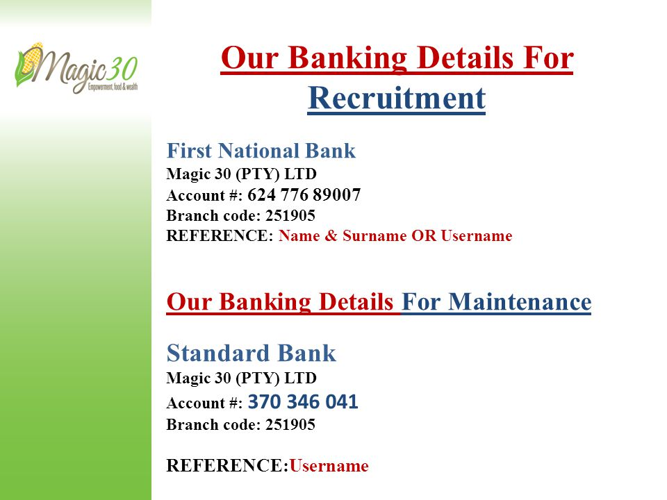 Our Banking Details For Recruitment
