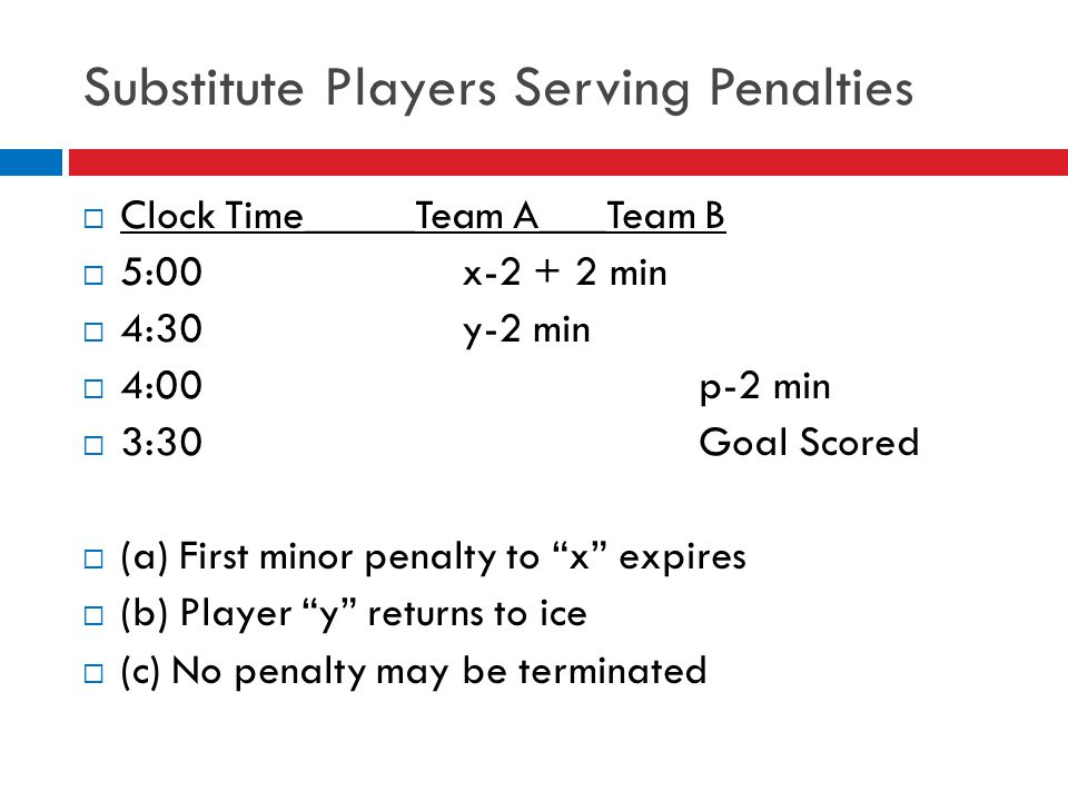 Substitute Players Serving Penalties