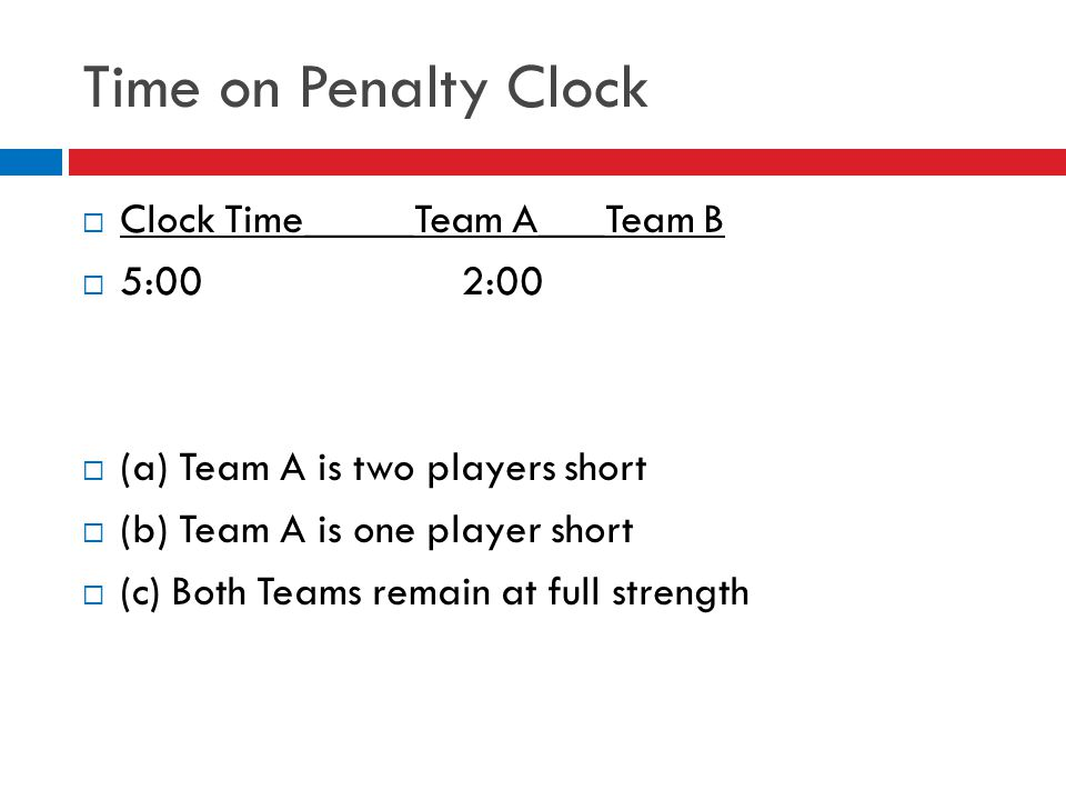 Time on Penalty Clock Clock Time_____Team A___Team B 5:00 2:00