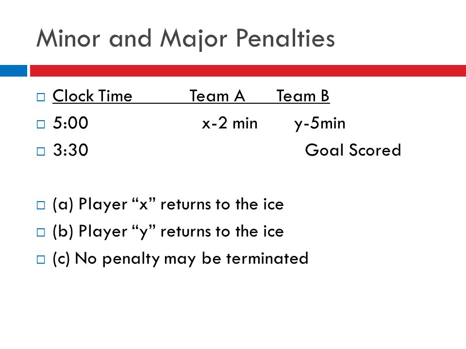 Minor and Major Penalties