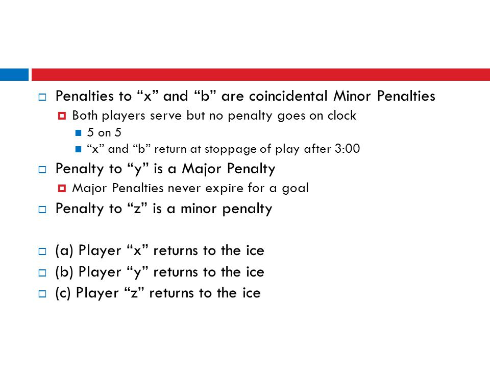 Penalties to x and b are coincidental Minor Penalties