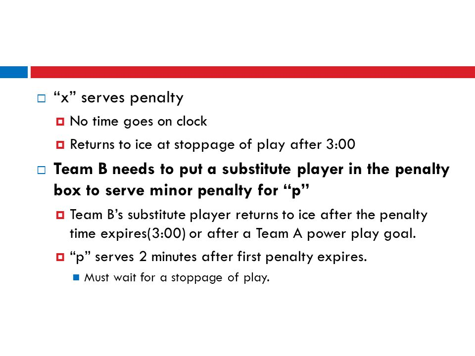 x serves penalty No time goes on clock. Returns to ice at stoppage of play after 3:00.