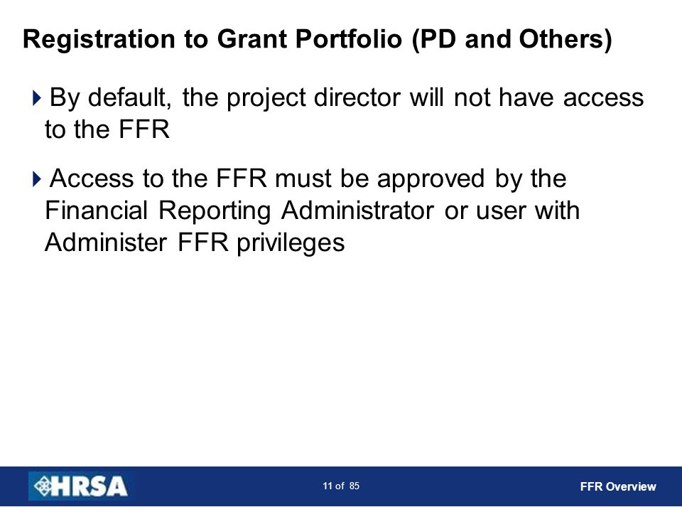 Registration to Grant Portfolio (PD and Others)