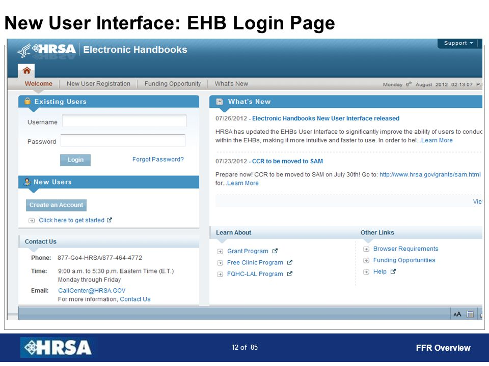 New User Interface: EHB Login Page