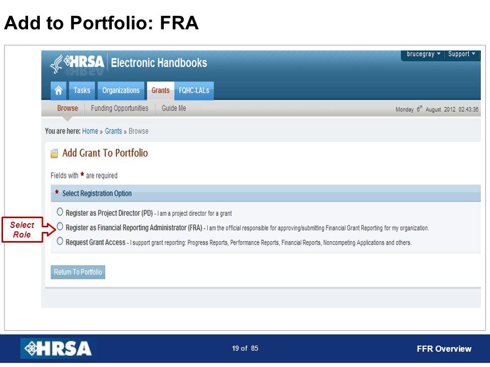 Add to Portfolio: FRA Select Role FFR Overview