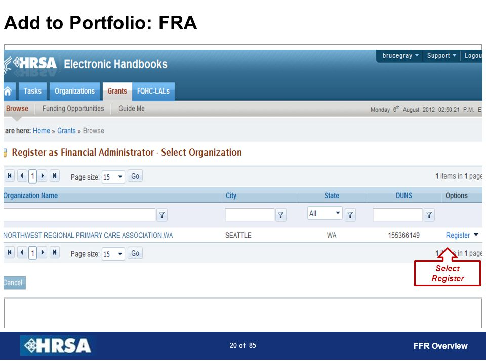 Add to Portfolio: FRA Select Register FFR Overview