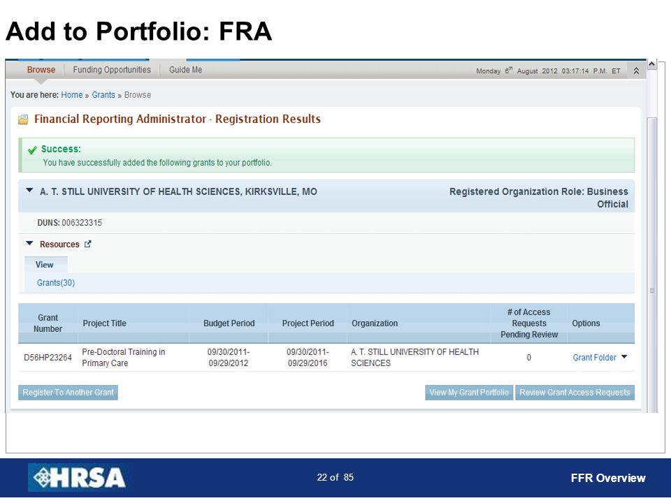 Add to Portfolio: FRA FFR Overview