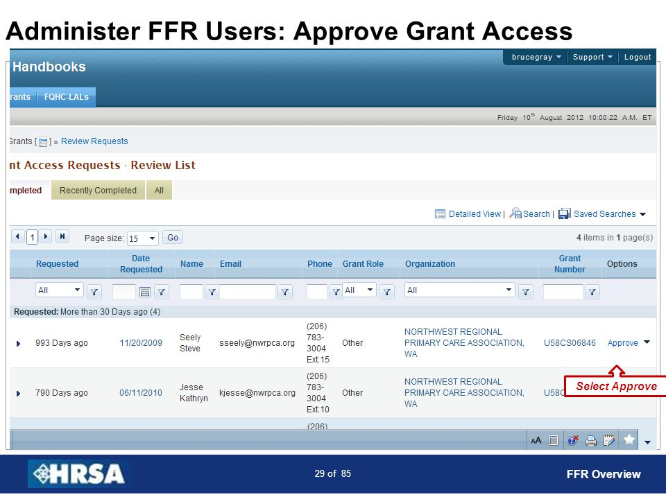 Administer FFR Users: Approve Grant Access
