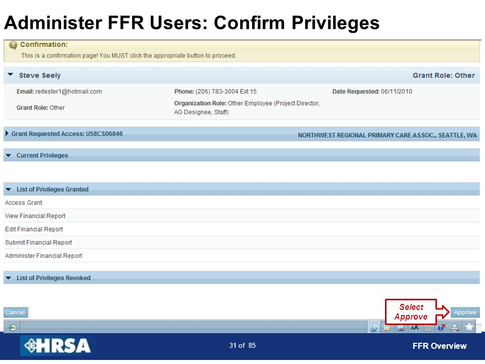 Administer FFR Users: Confirm Privileges