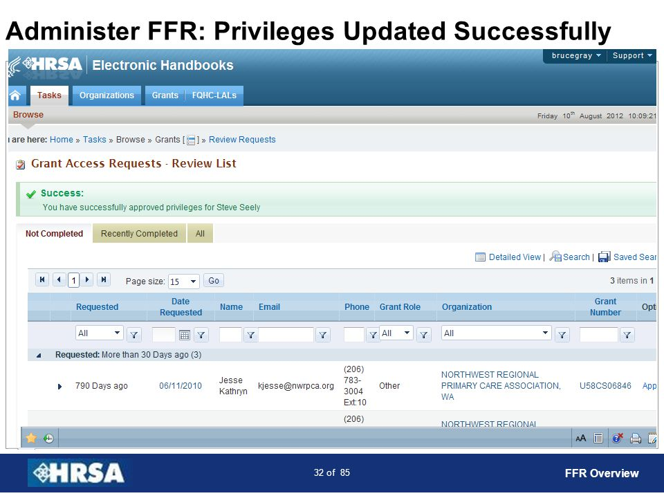 Administer FFR: Privileges Updated Successfully