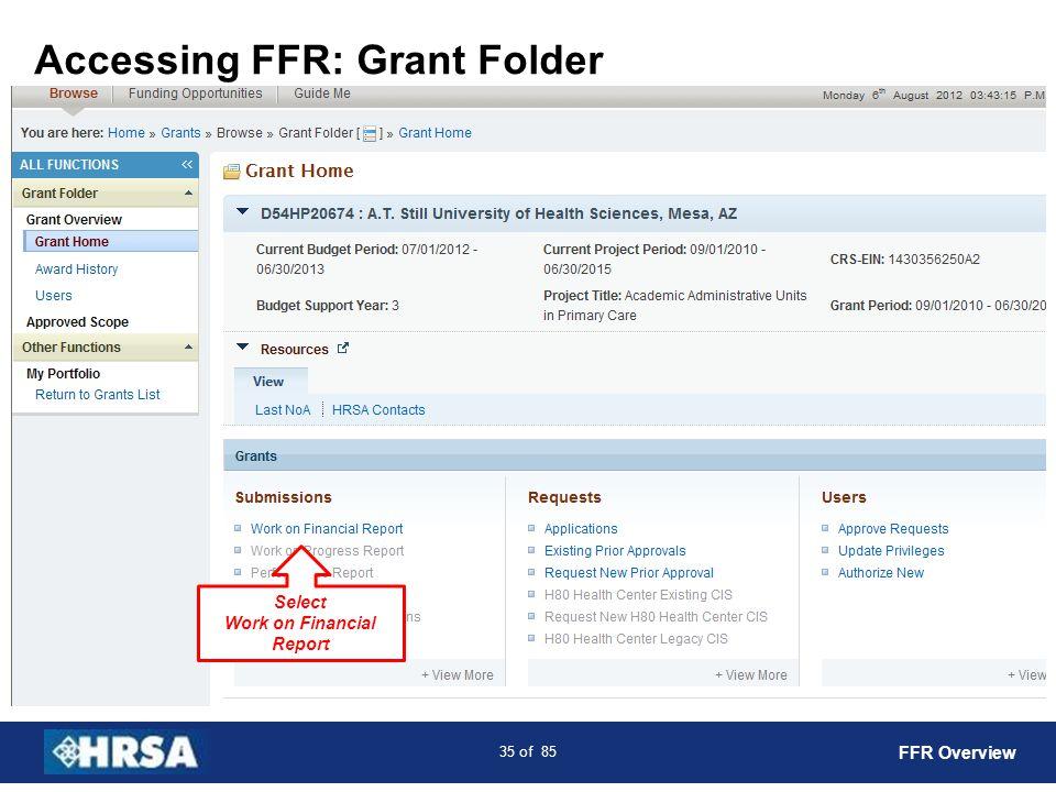 Accessing FFR: Grant Folder