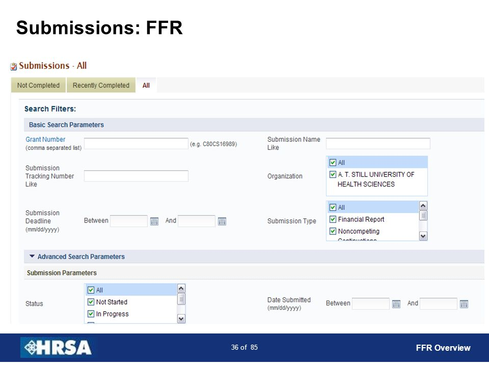 Submissions: FFR FFR Overview