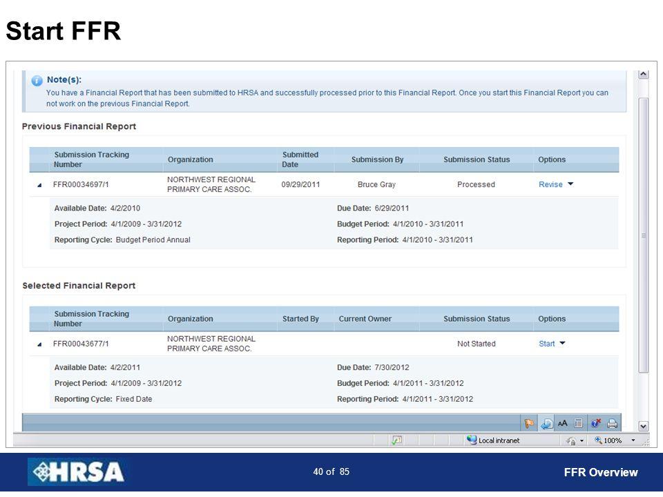 Start FFR FFR Overview