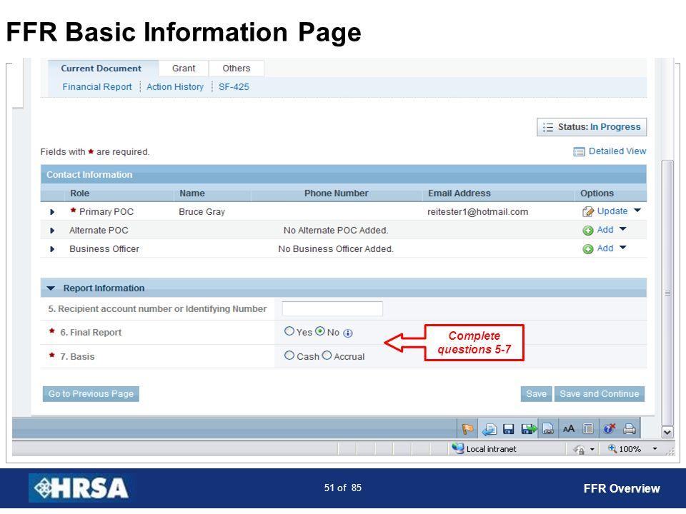 FFR Basic Information Page