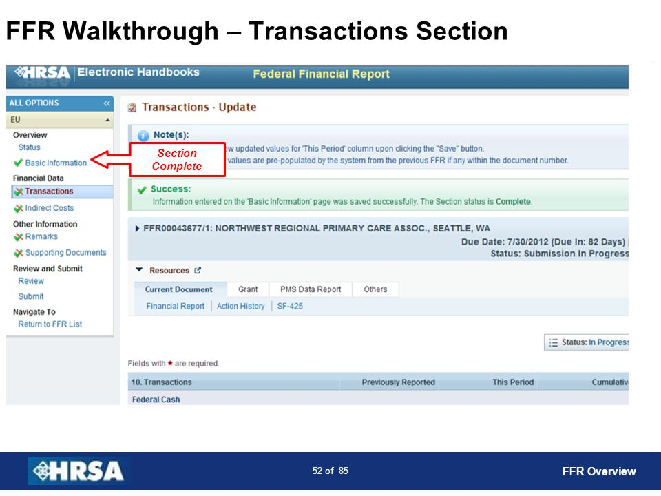 FFR Walkthrough – Transactions Section