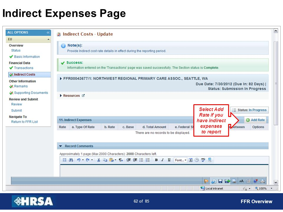 Indirect Expenses Page