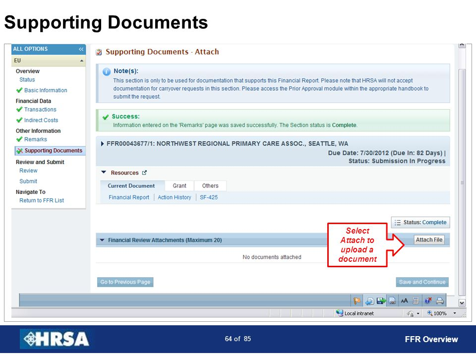 Select Attach to upload a document