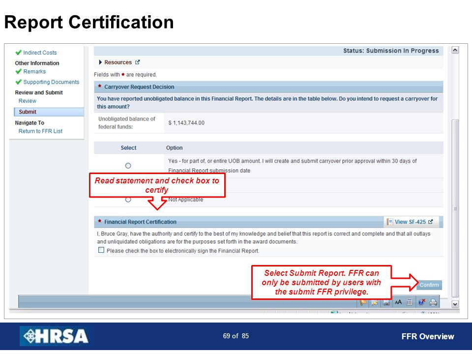Read statement and check box to certify