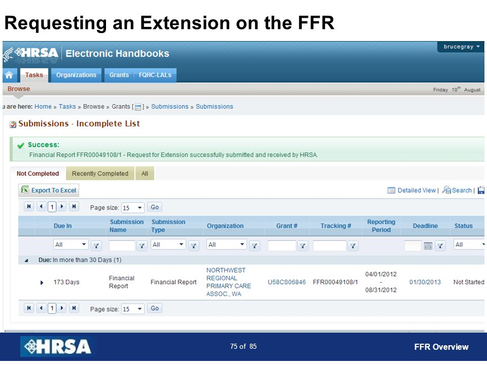 Requesting an Extension on the FFR