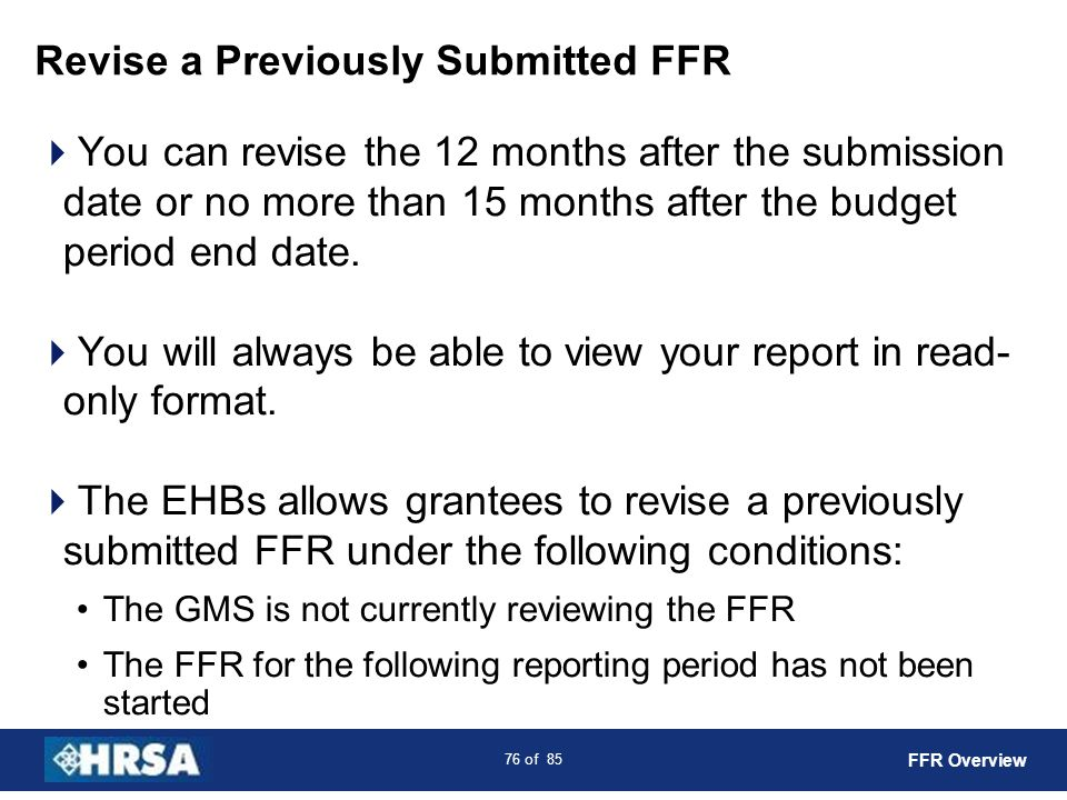 Revise a Previously Submitted FFR