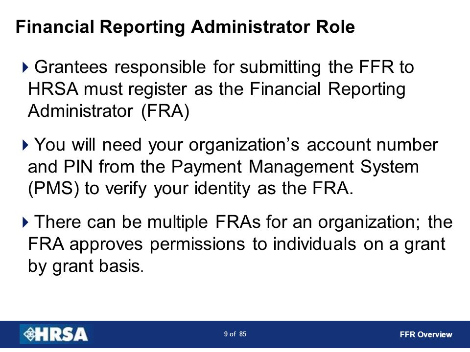 Financial Reporting Administrator Role