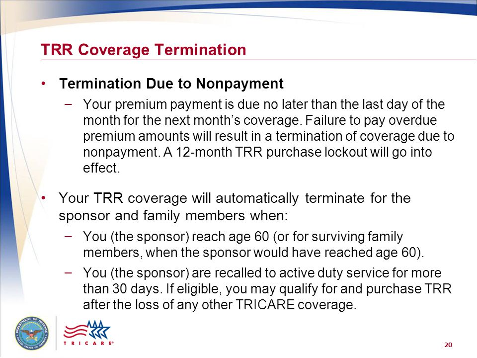 TRR Coverage Termination