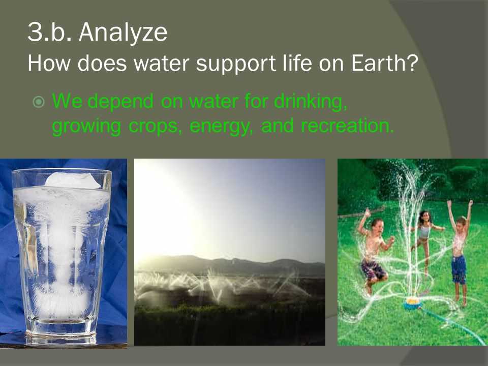 3.b. Analyze How does water support life on Earth