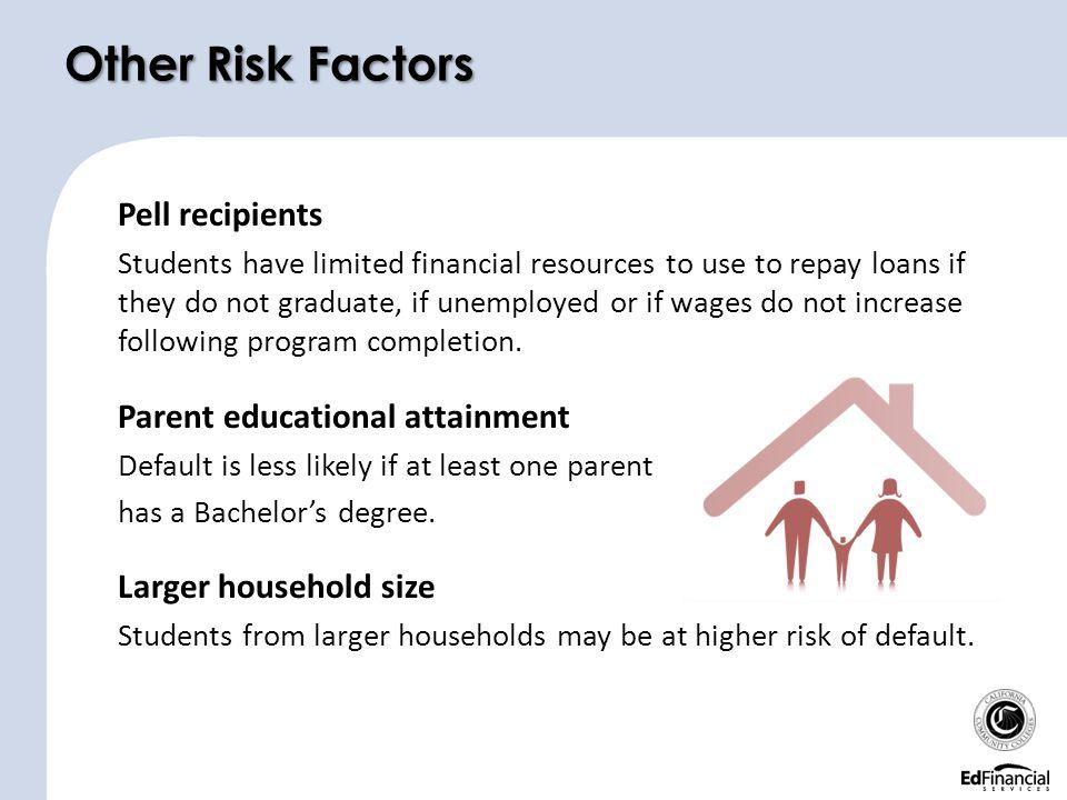 Other Risk Factors Pell recipients Parent educational attainment