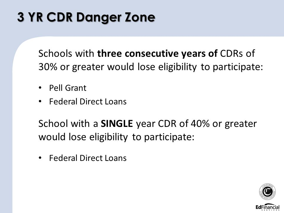 3 YR CDR Danger Zone Schools with three consecutive years of CDRs of 30% or greater would lose eligibility to participate: