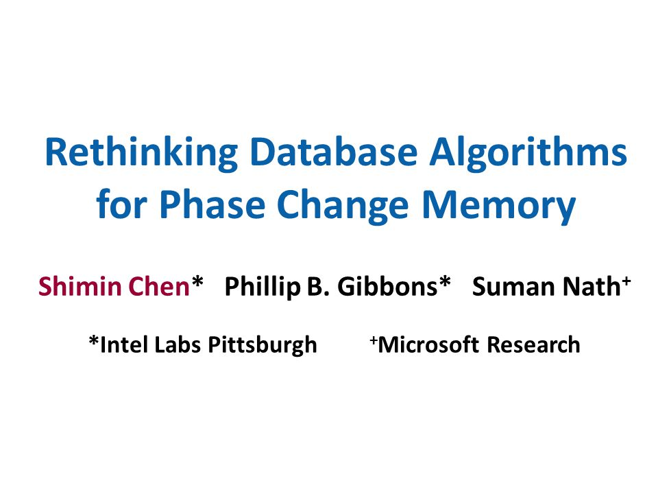 Rethinking Database Algorithms for Phase Change Memory