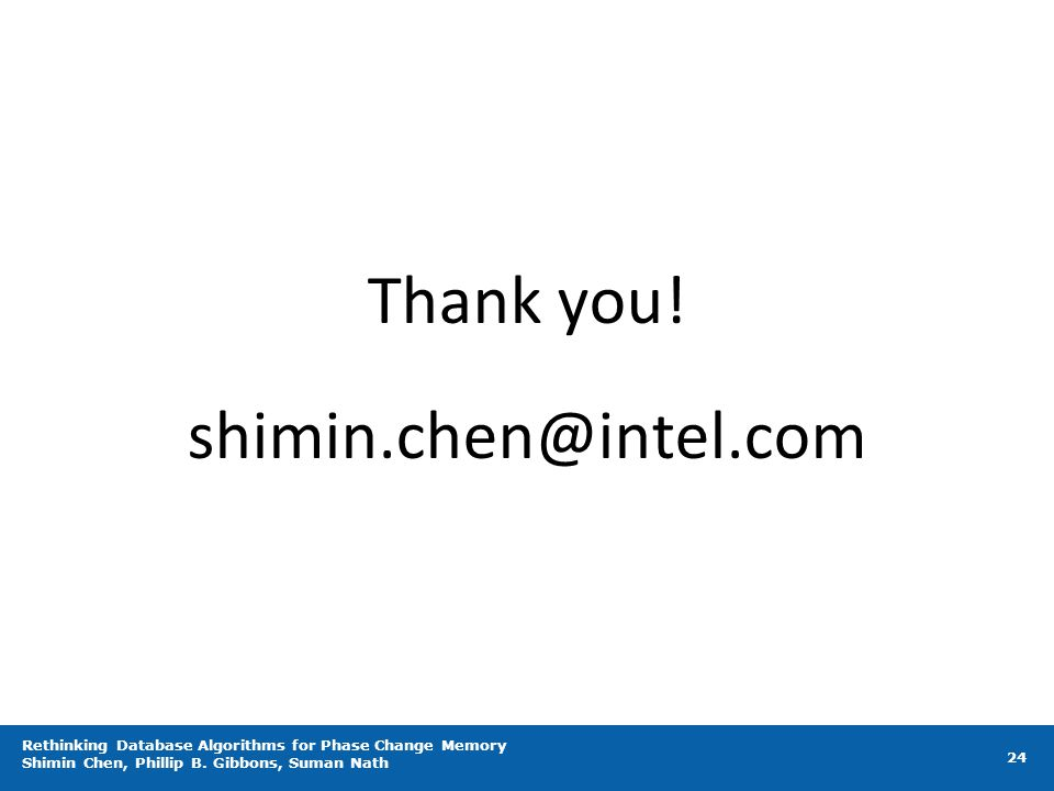 Thank you! shimin.chen@intel.com
