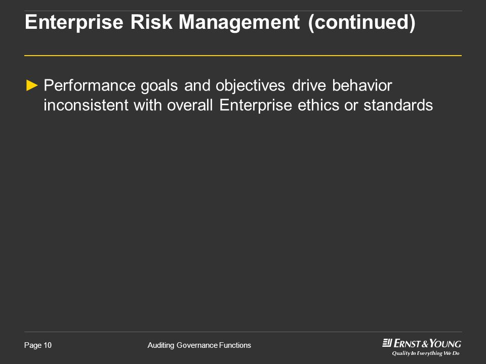 Enterprise Risk Management (continued)