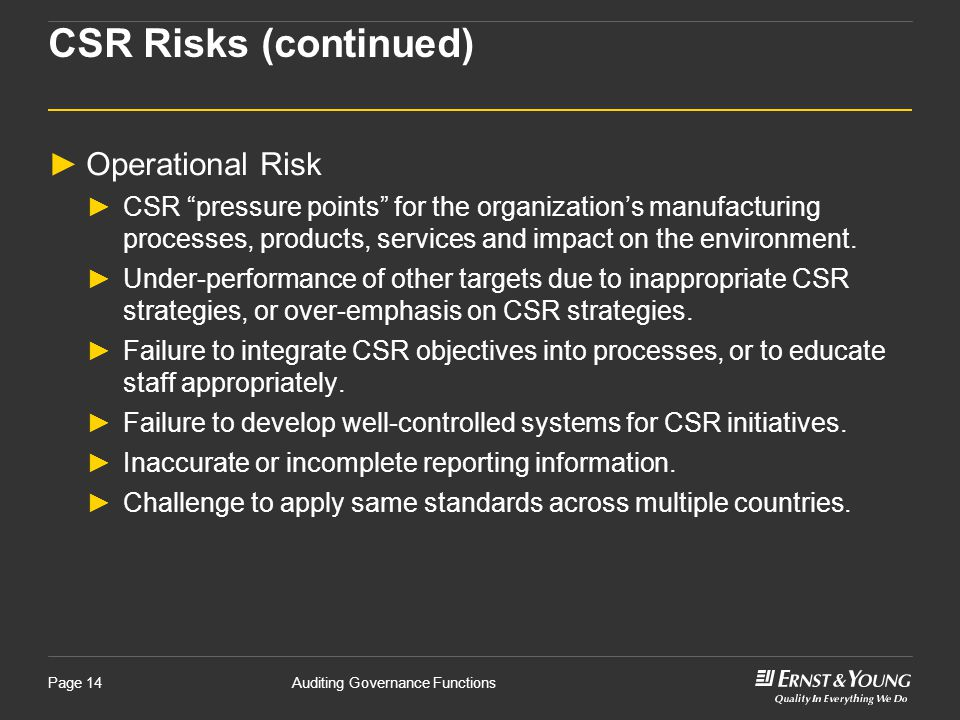 CSR Risks (continued) Operational Risk