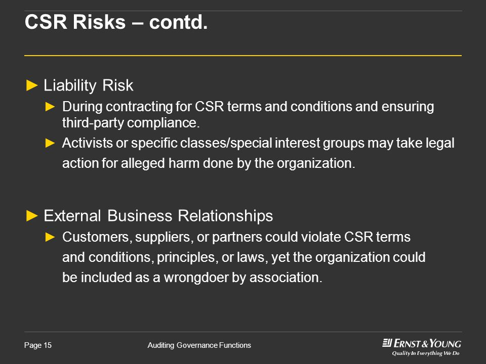 CSR Risks – contd. Liability Risk External Business Relationships