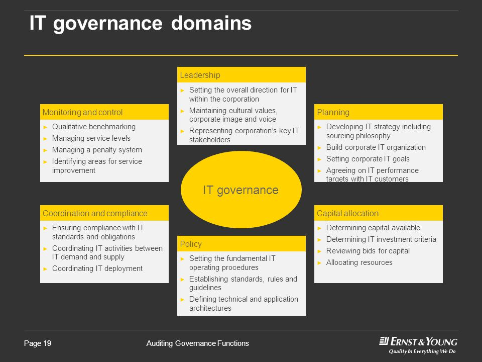 IT governance domains IT governance Leadership Monitoring and control