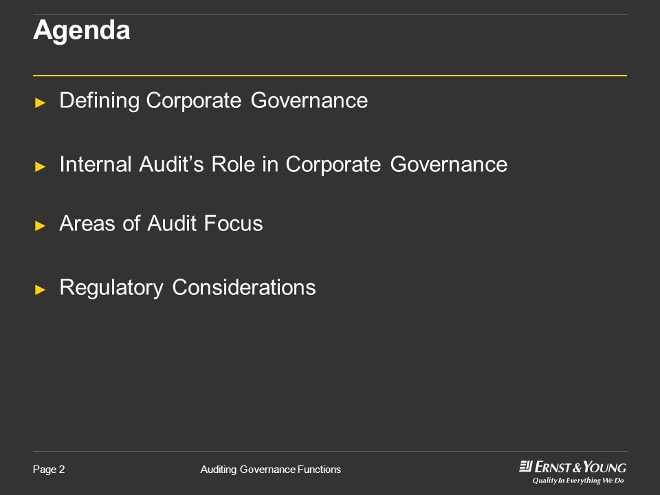 Agenda Defining Corporate Governance