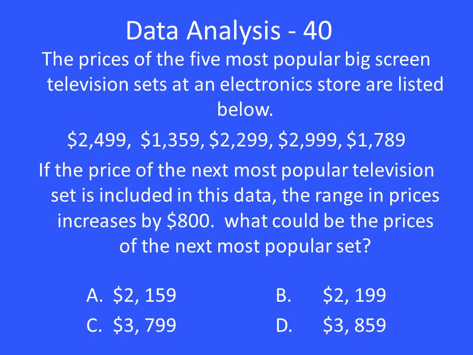 Data Analysis - 40 The prices of the five most popular big screen television sets at an electronics store are listed below.