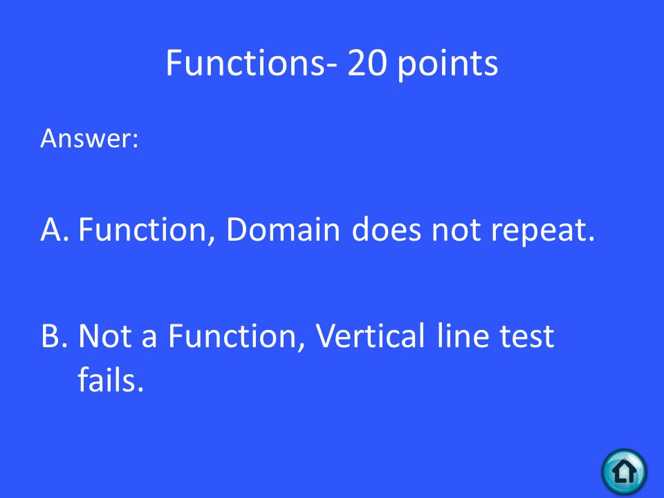 Functions- 20 points Function, Domain does not repeat.