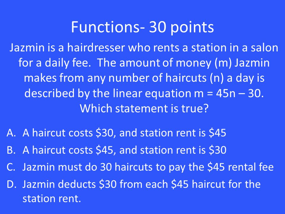 Functions- 30 points