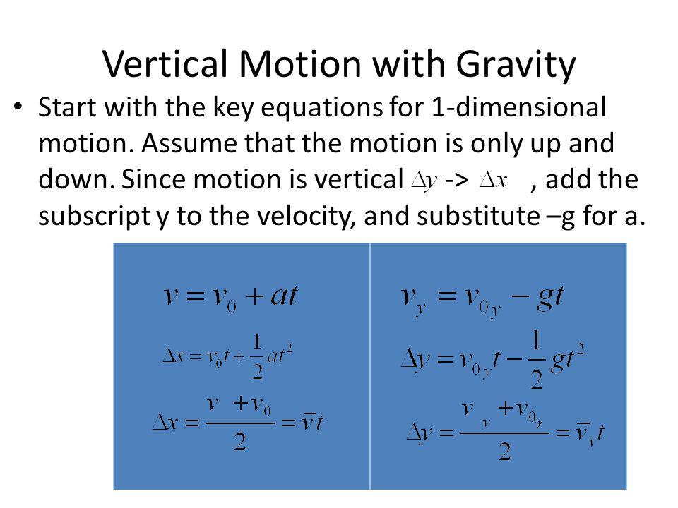 Vertical Motion with Gravity