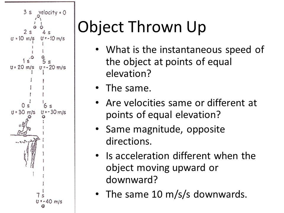 Object Thrown Up What is the instantaneous speed of the object at points of equal elevation The same.