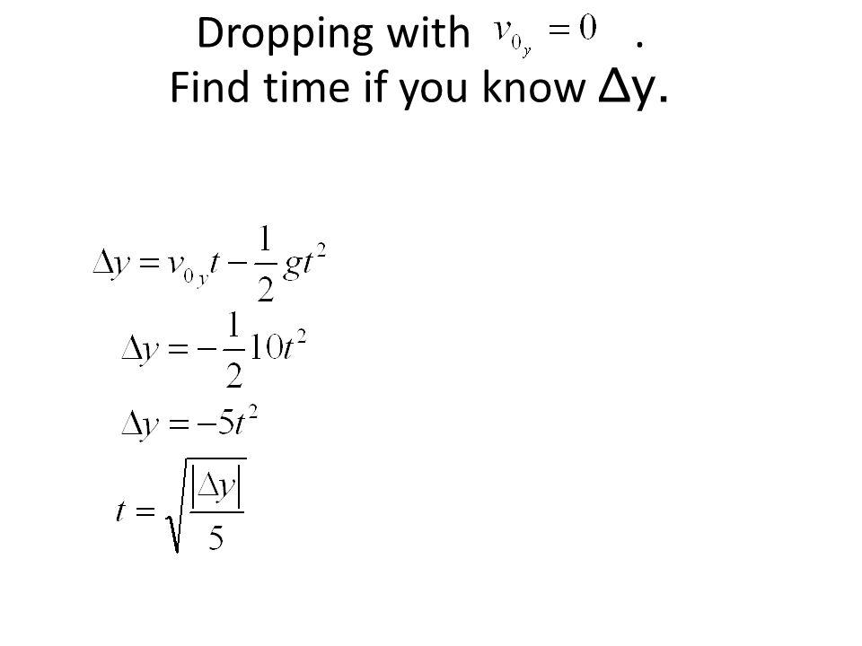 Dropping with . Find time if you know Δy.