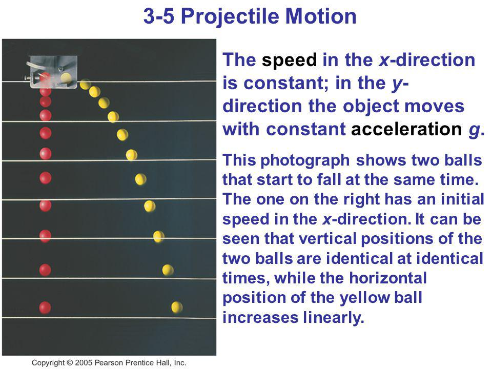 3-5 Projectile Motion The speed in the x-direction is constant; in the y-direction the object moves with constant acceleration g.
