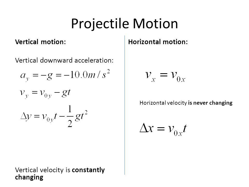 Projectile Motion Vertical motion: Vertical downward acceleration: Vertical velocity is constantly changing