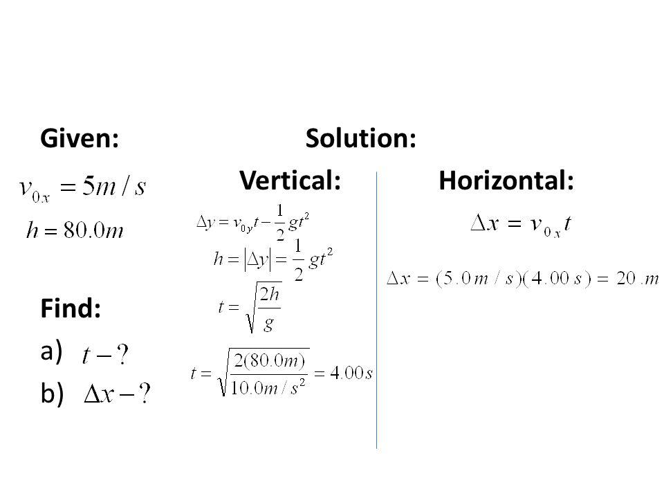 Given: Solution: Vertical: Horizontal: Find: a) b)