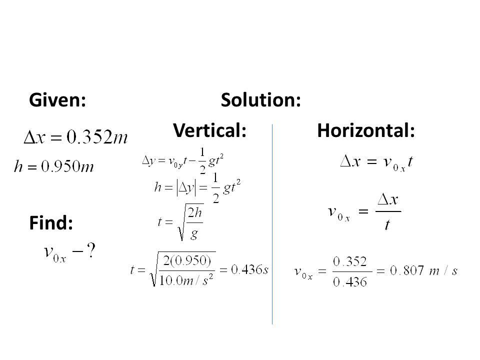 Given: Solution: Vertical: Horizontal: Find: