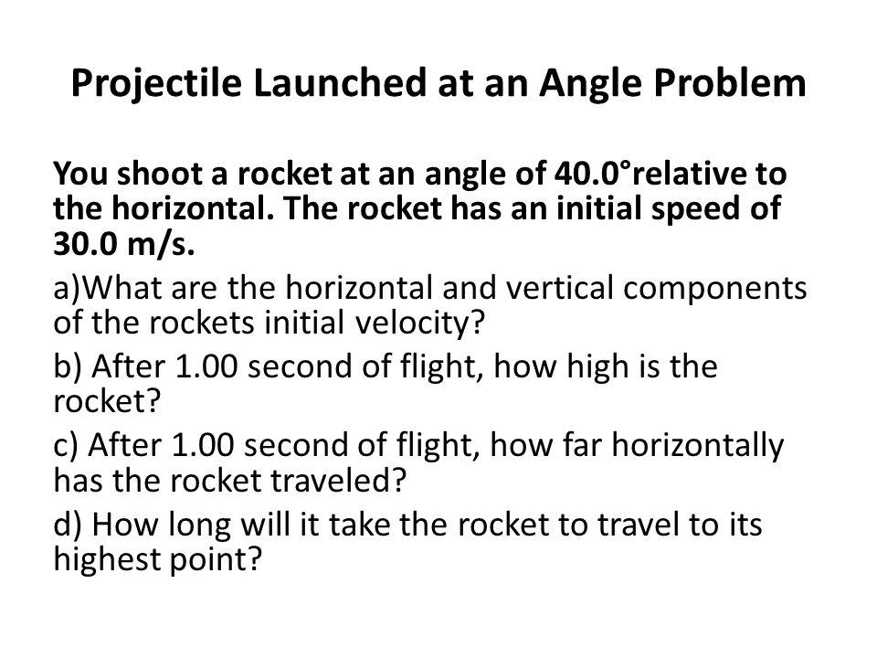 Projectile Launched at an Angle Problem