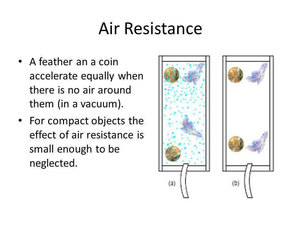 Air Resistance A feather an a coin accelerate equally when there is no air around them (in a vacuum).