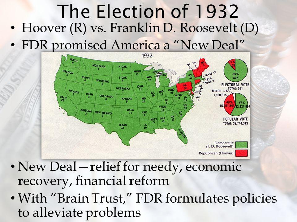 The Election of 1932 Hoover (R) vs. Franklin D. Roosevelt (D)