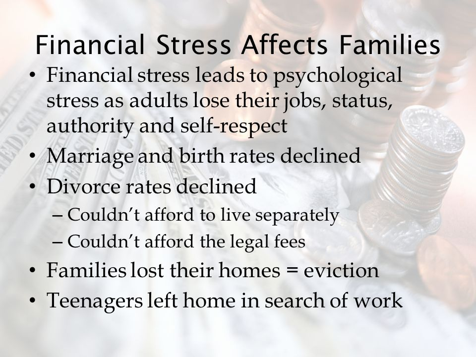 Financial Stress Affects Families
